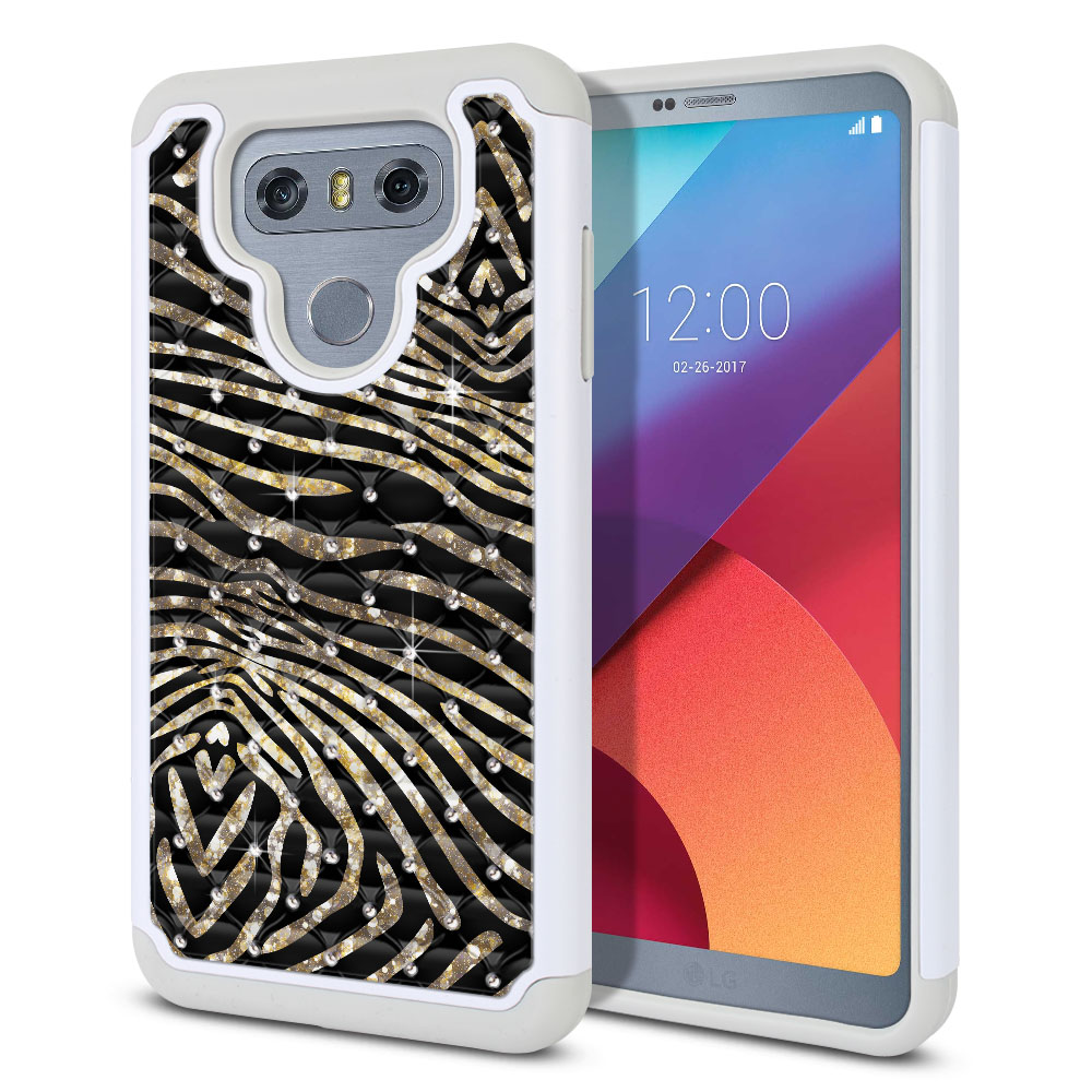 LG G6 H870 Hybrid Total Defense Some Rhinestones Zebra Stripes Gold Protector Cover Case