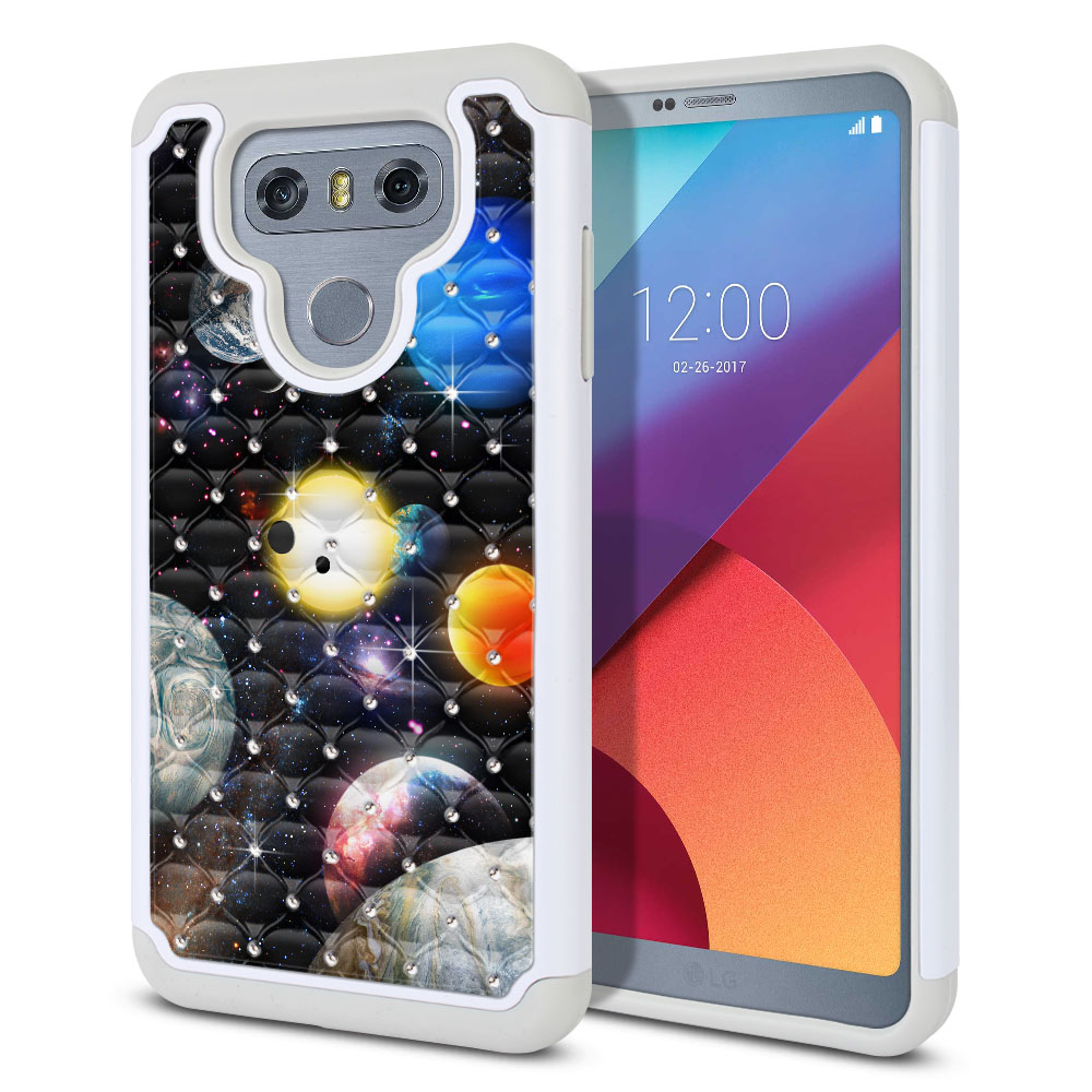 LG G6 H870 Hybrid Total Defense Some Rhinestones Planet Solar System 2 Protector Cover Case