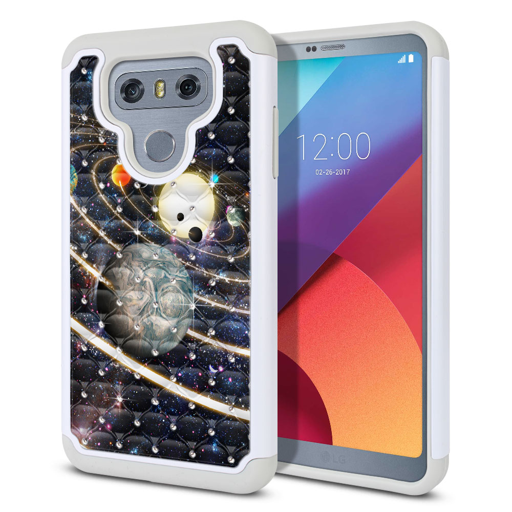 LG G6 H870 Hybrid Total Defense Some Rhinestones Rings of Solar System Protector Cover Case