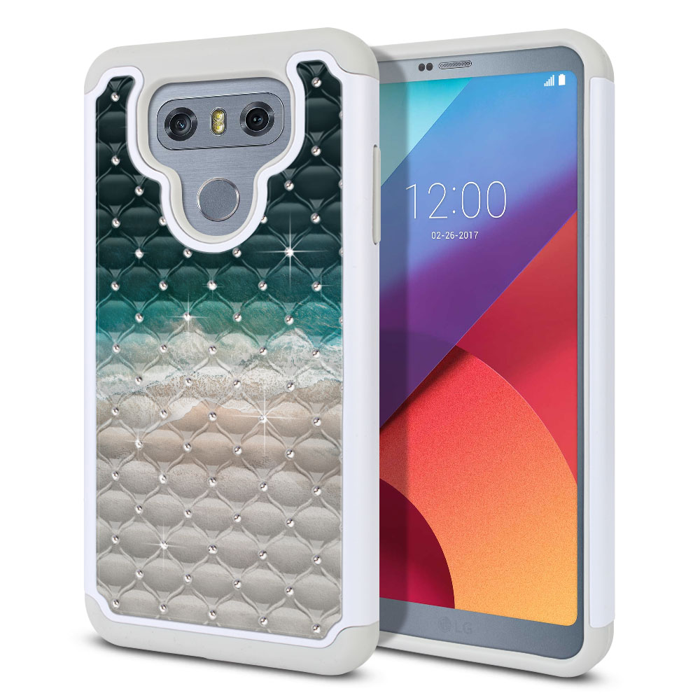 LG G6 H870 Hybrid Total Defense Some Rhinestones Sandy Beach Protector Cover Case