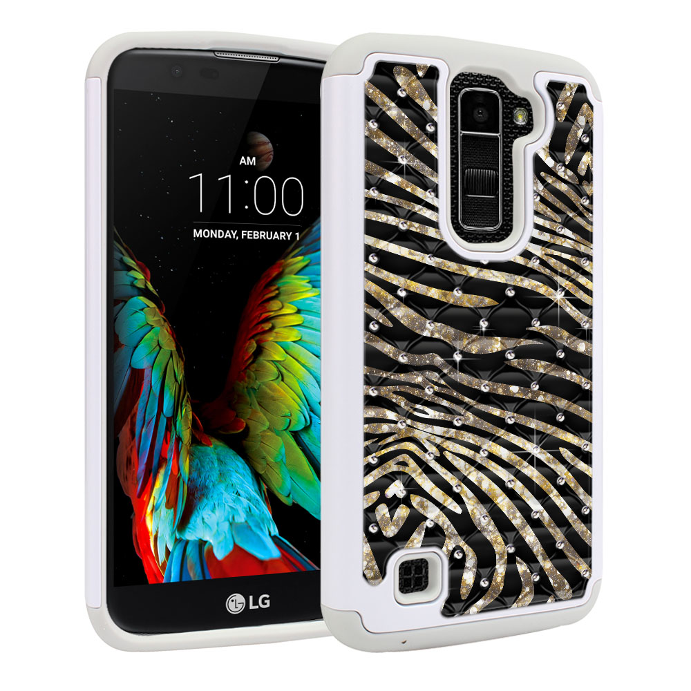 LG K10 Premier LTE L62VL L61AL K428 K430 K420 K420N Hybrid Total Defense Some Rhinestones Zebra Stripes Gold Protector Cover Case
