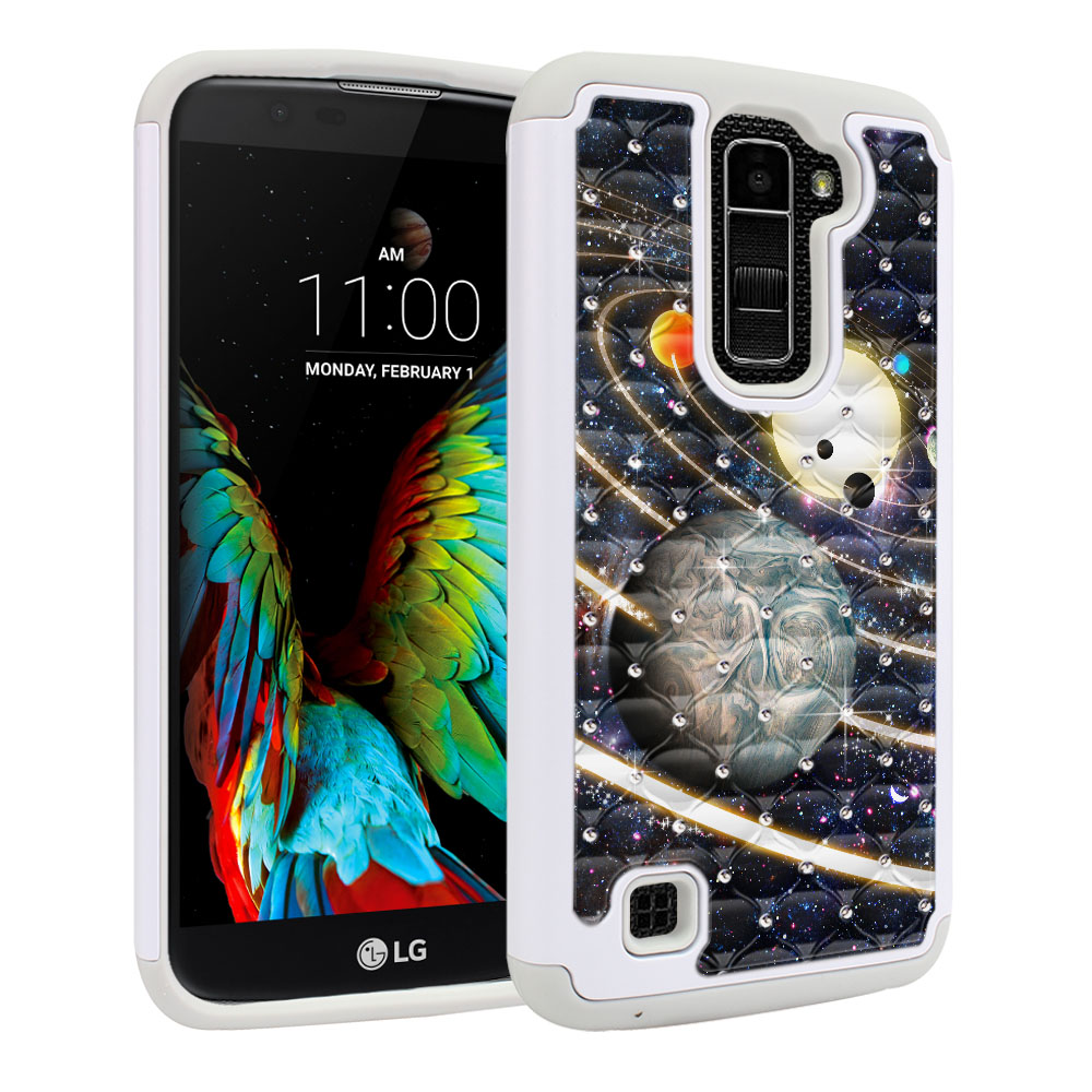 LG K10 Premier LTE L62VL L61AL K428 K430 K420 K420N Hybrid Total Defense Some Rhinestones Rings of Solar System Protector Cover Case
