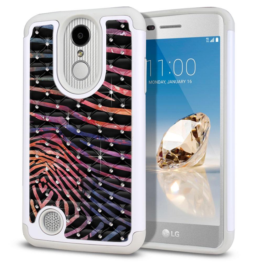 LG Aristo MS210 LV3 K8 (2017)/ Phoenix 3 M150 Hybrid Total Defense Some Rhinestones Zebra Stripes Dusk Protector Cover Case