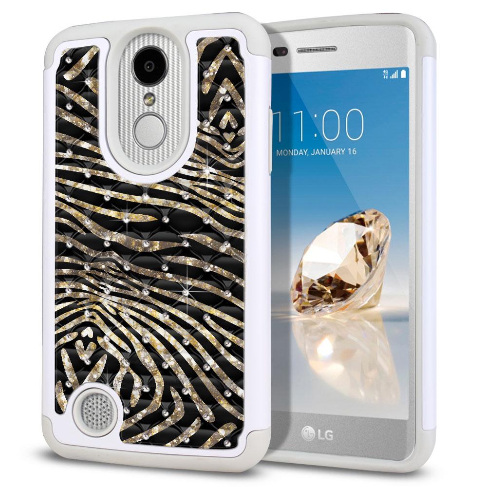 LG Aristo MS210 LV3 K8 (2017)/ Phoenix 3 M150 Hybrid Total Defense Some Rhinestones Zebra Stripes Gold Protector Cover Case