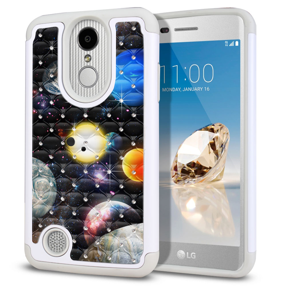 LG Aristo MS210 LV3 K8 (2017)/ Phoenix 3 M150 Hybrid Total Defense Some Rhinestones Planet Solar System 2 Protector Cover Case