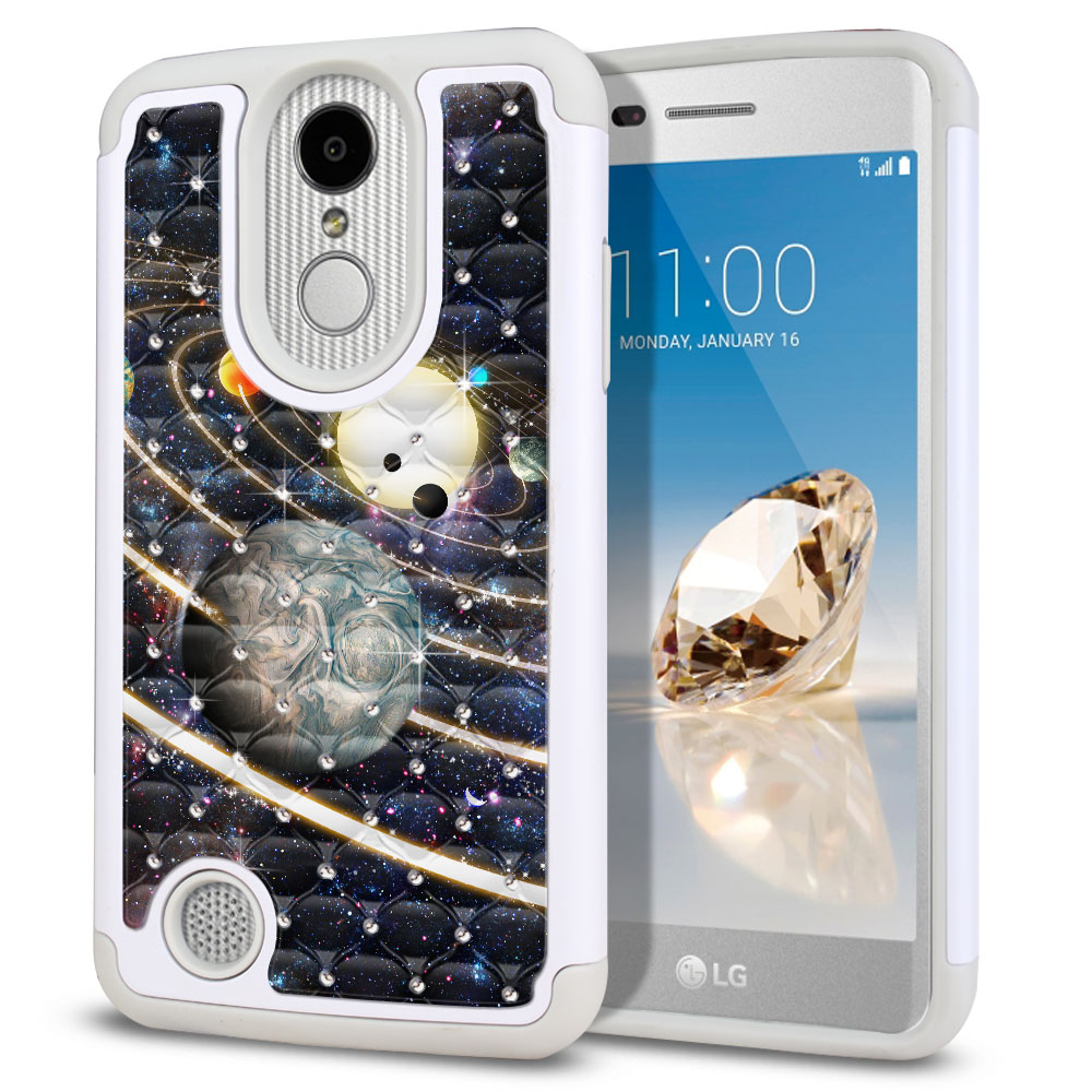 LG Aristo MS210 LV3 K8 (2017)/ Phoenix 3 M150 Hybrid Total Defense Some Rhinestones Rings of Solar System Protector Cover Case