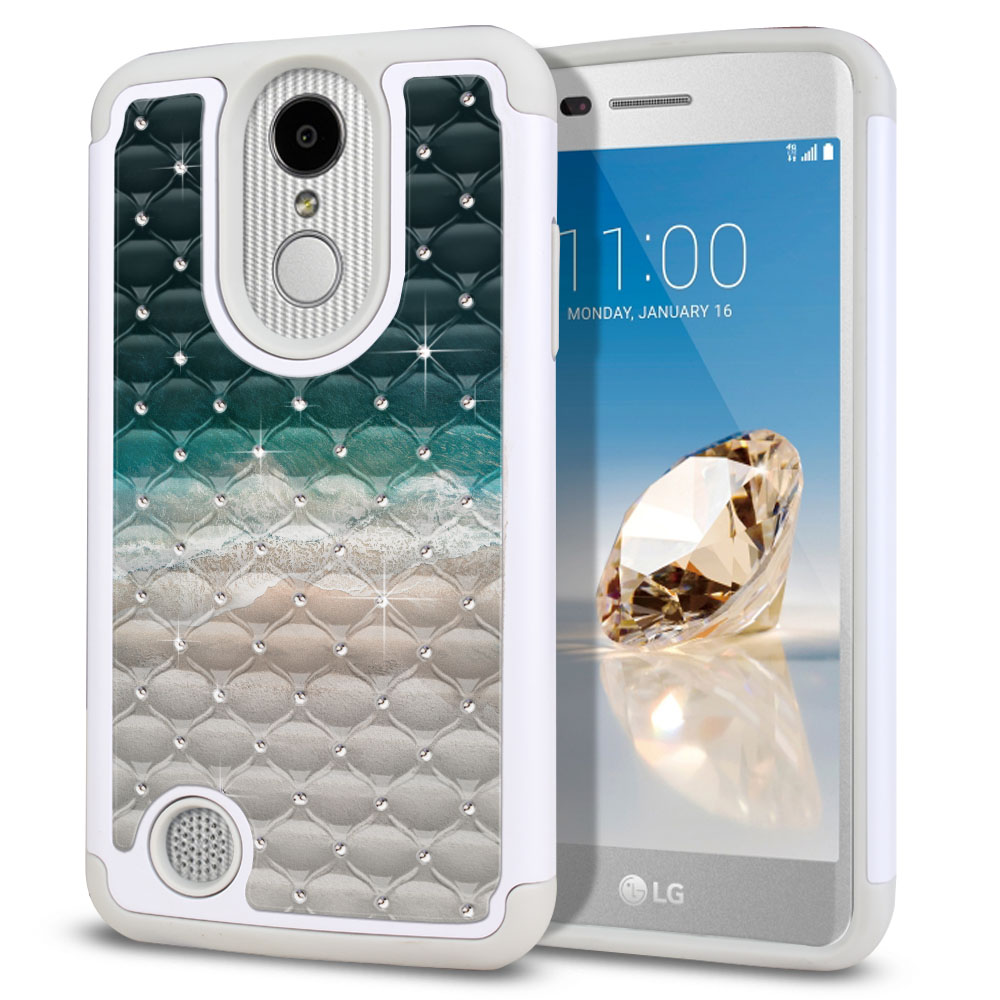 LG Aristo MS210 LV3 K8 (2017)/ Phoenix 3 M150 Hybrid Total Defense Some Rhinestones Sandy Beach Protector Cover Case