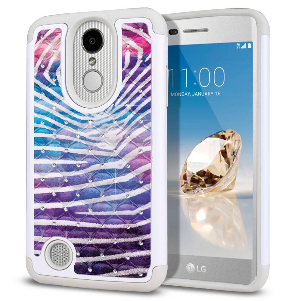 LG Aristo MS210 LV3 K8 (2017)/ Phoenix 3 M150 Hybrid Total Defense Some Rhinestones Zebra Stripes White Protector Cover Case