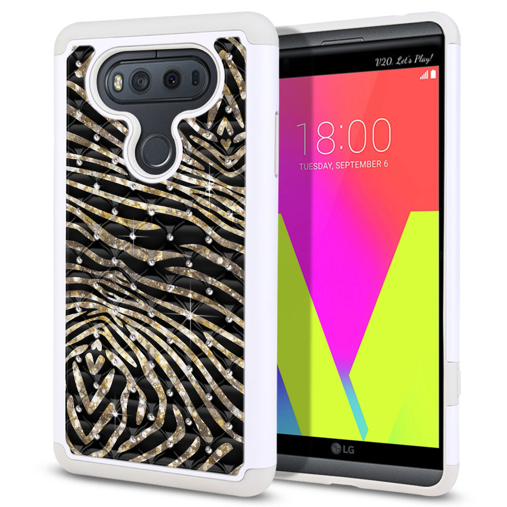 LG V20 VS995 H990 LS997 H910 H918 US996 Hybrid Total Defense Some Rhinestones Zebra Stripes Gold Protector Cover Case