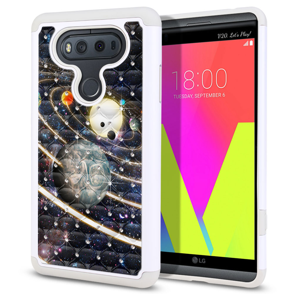LG V20 VS995 H990 LS997 H910 H918 US996 Hybrid Total Defense Some Rhinestones Rings of Solar System Protector Cover Case