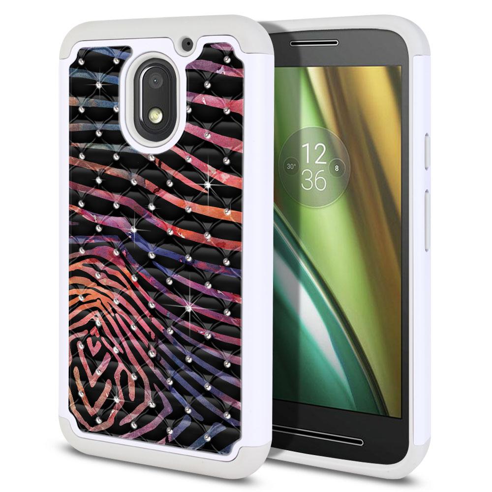 Motorola Moto E3 3rd 2016 Hybrid Total Defense Some Rhinestones Zebra Stripes Dusk Protector Cover Case