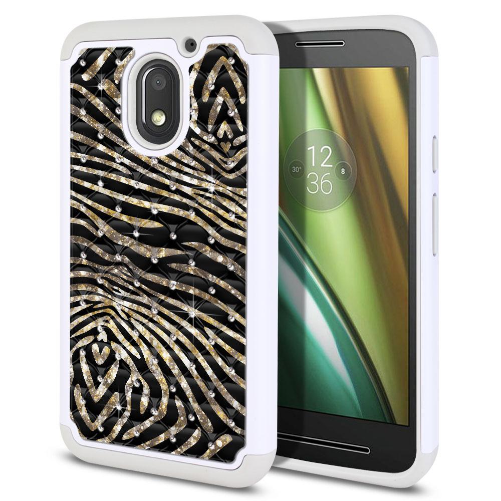 Motorola Moto E3 3rd 2016 Hybrid Total Defense Some Rhinestones Zebra Stripes Gold Protector Cover Case