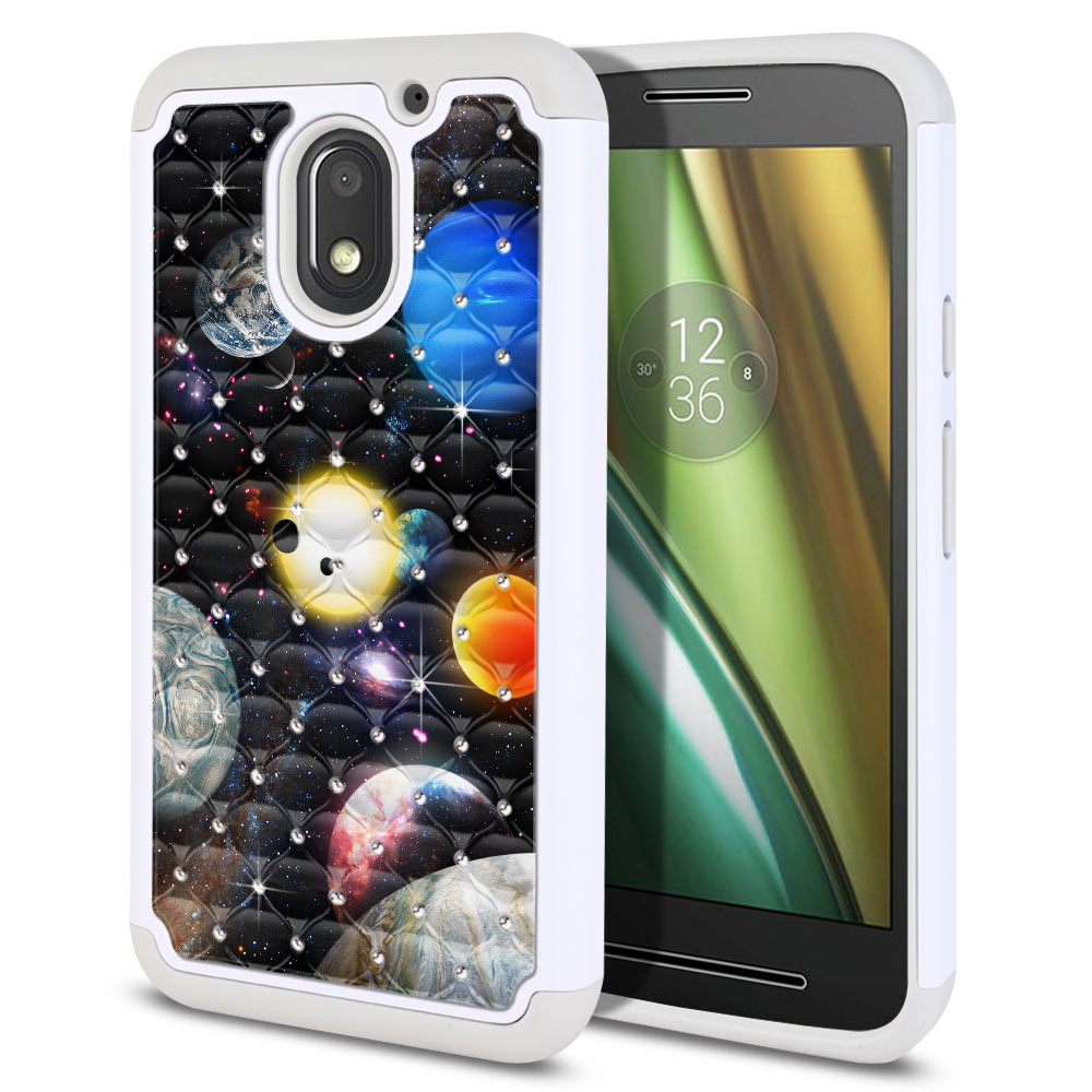 Motorola Moto E3 3rd 2016 Hybrid Total Defense Some Rhinestones Planet Solar System 2 Protector Cover Case