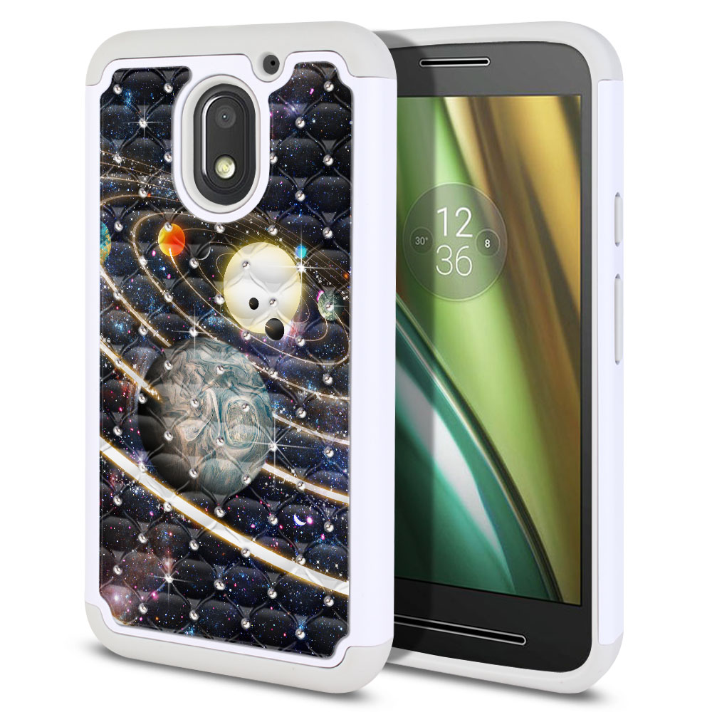 Motorola Moto E3 3rd 2016 Hybrid Total Defense Some Rhinestones Rings of Solar System Protector Cover Case