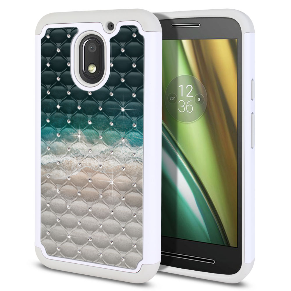 Motorola Moto E3 3rd 2016 Hybrid Total Defense Some Rhinestones Sandy Beach Protector Cover Case