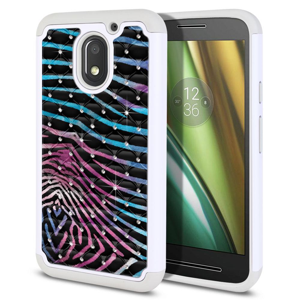 Motorola Moto E3 3rd 2016 Hybrid Total Defense Some Rhinestones Zebra Stripes Black Protector Cover Case
