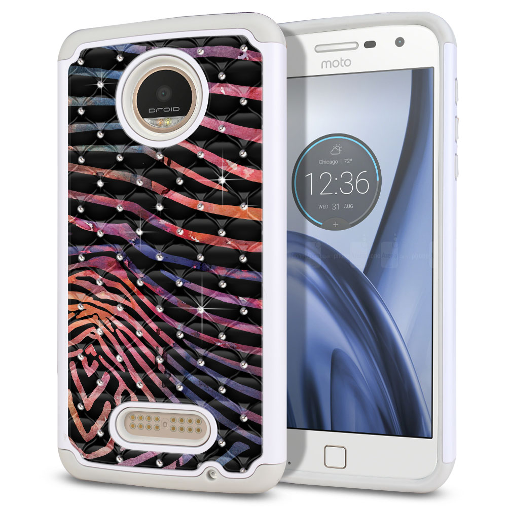 Motorola Moto Z Play Droid XT1635 Hybrid Total Defense Some Rhinestones Zebra Stripes Dusk Protector Cover Case