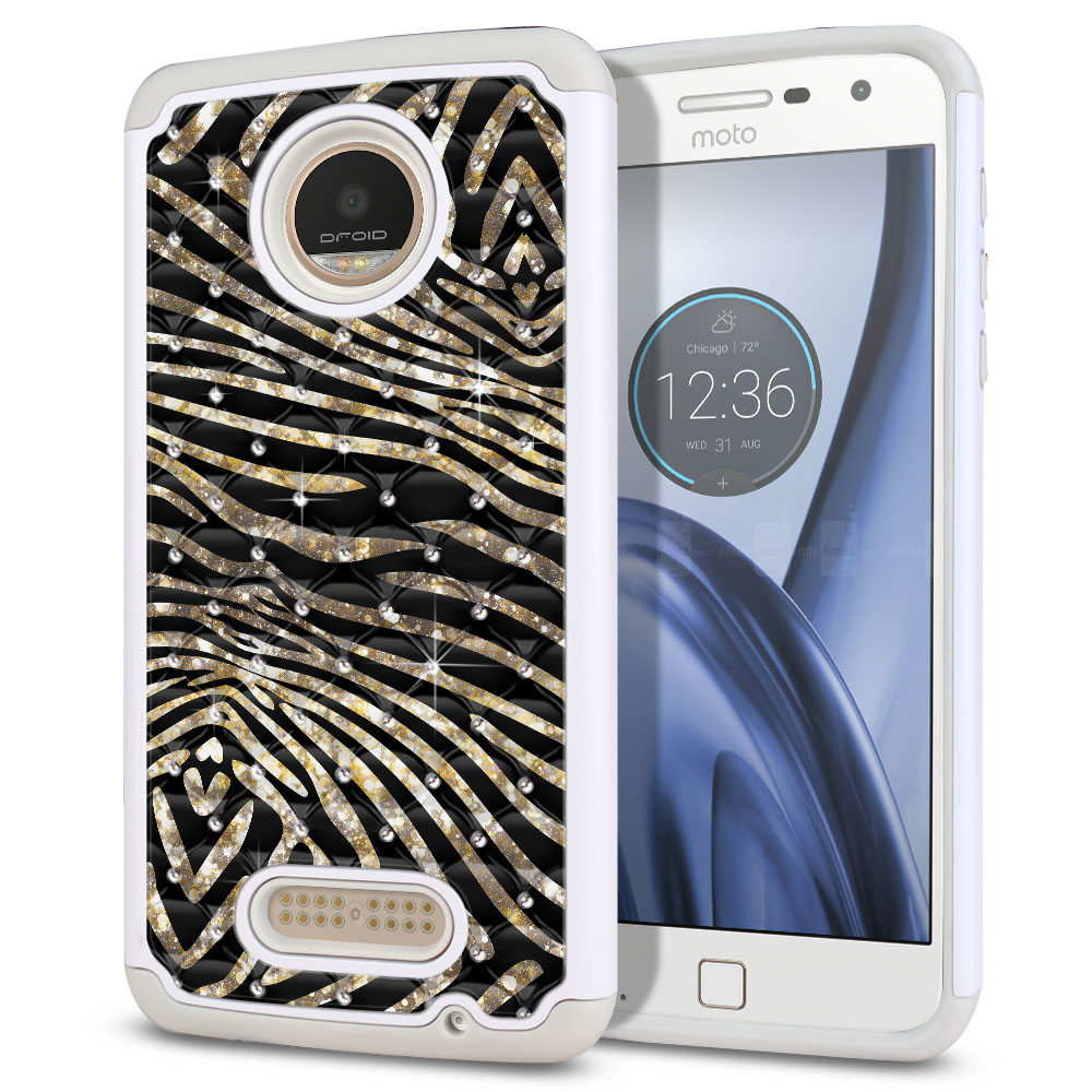 Motorola Moto Z Play Droid XT1635 Hybrid Total Defense Some Rhinestones Zebra Stripes Gold Protector Cover Case