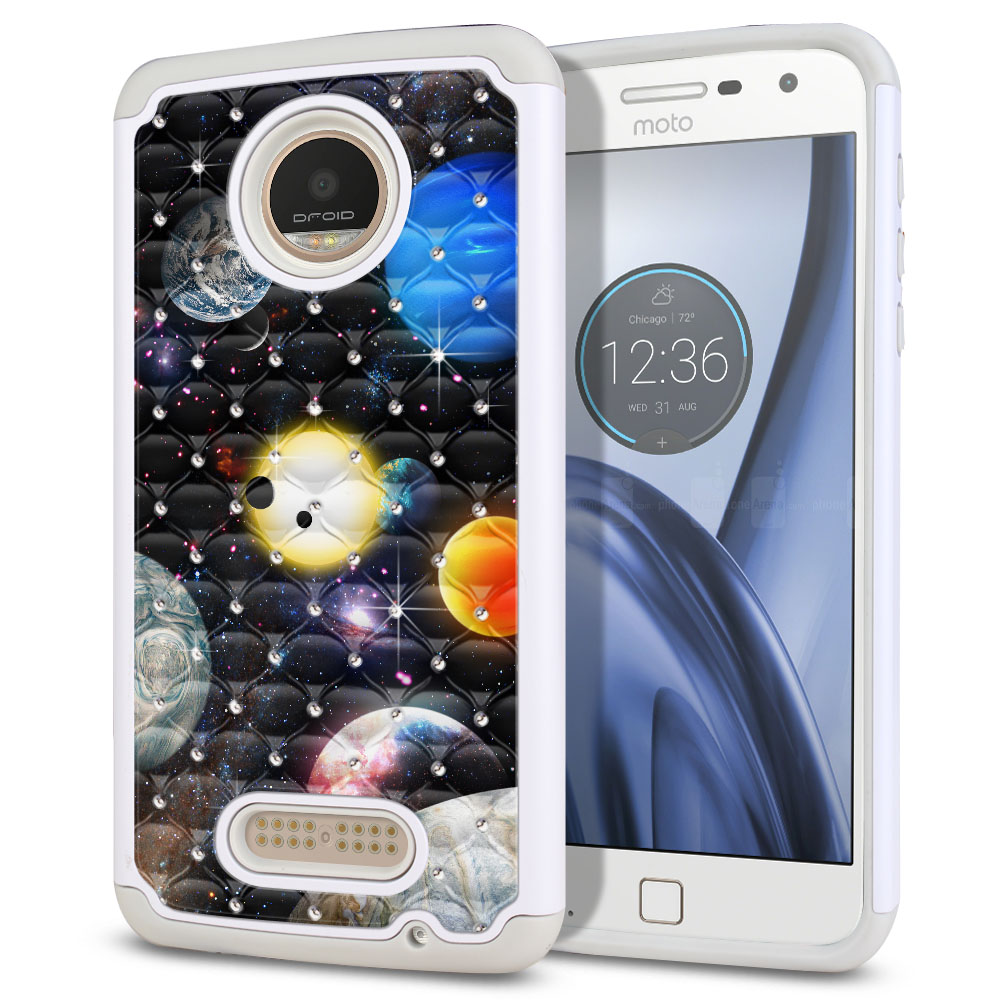 Motorola Moto Z Play Droid XT1635 Hybrid Total Defense Some Rhinestones Planet Solar System 2 Protector Cover Case