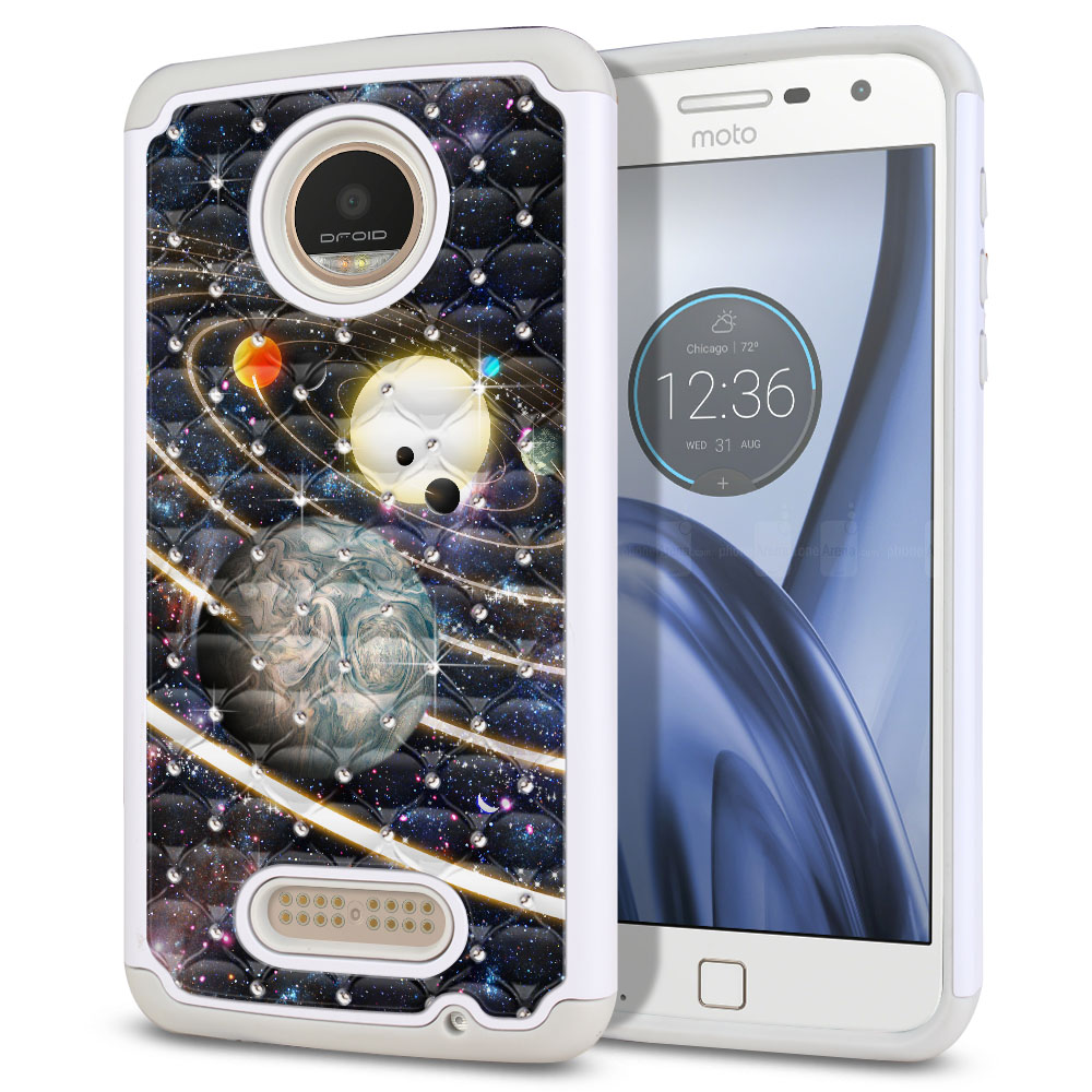 Motorola Moto Z Play Droid XT1635 Hybrid Total Defense Some Rhinestones Rings of Solar System Protector Cover Case