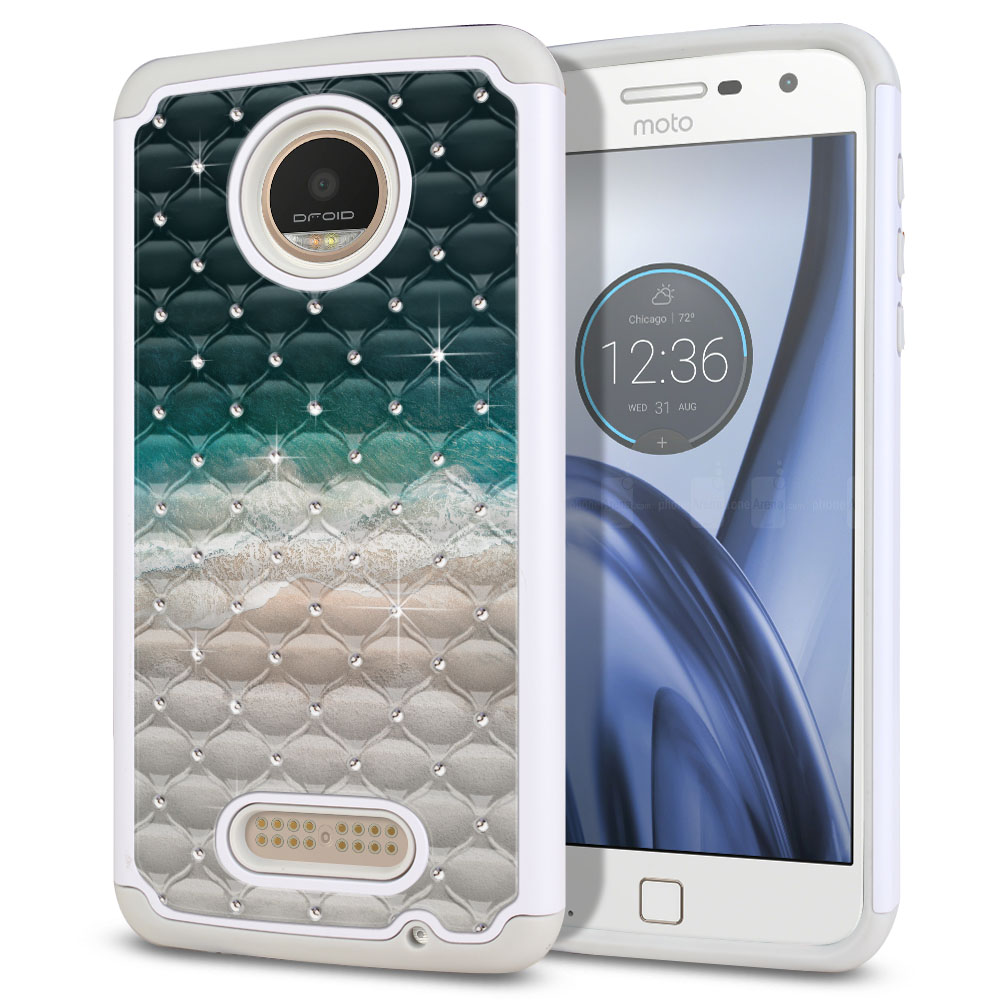 Motorola Moto Z Play Droid XT1635 Hybrid Total Defense Some Rhinestones Sandy Beach Protector Cover Case