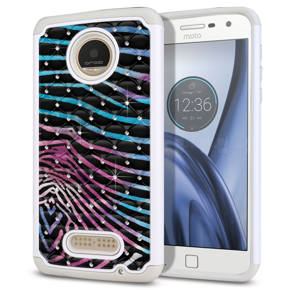 Motorola Moto Z Play Droid XT1635 Hybrid Total Defense Some Rhinestones Zebra Stripes Black Protector Cover Case