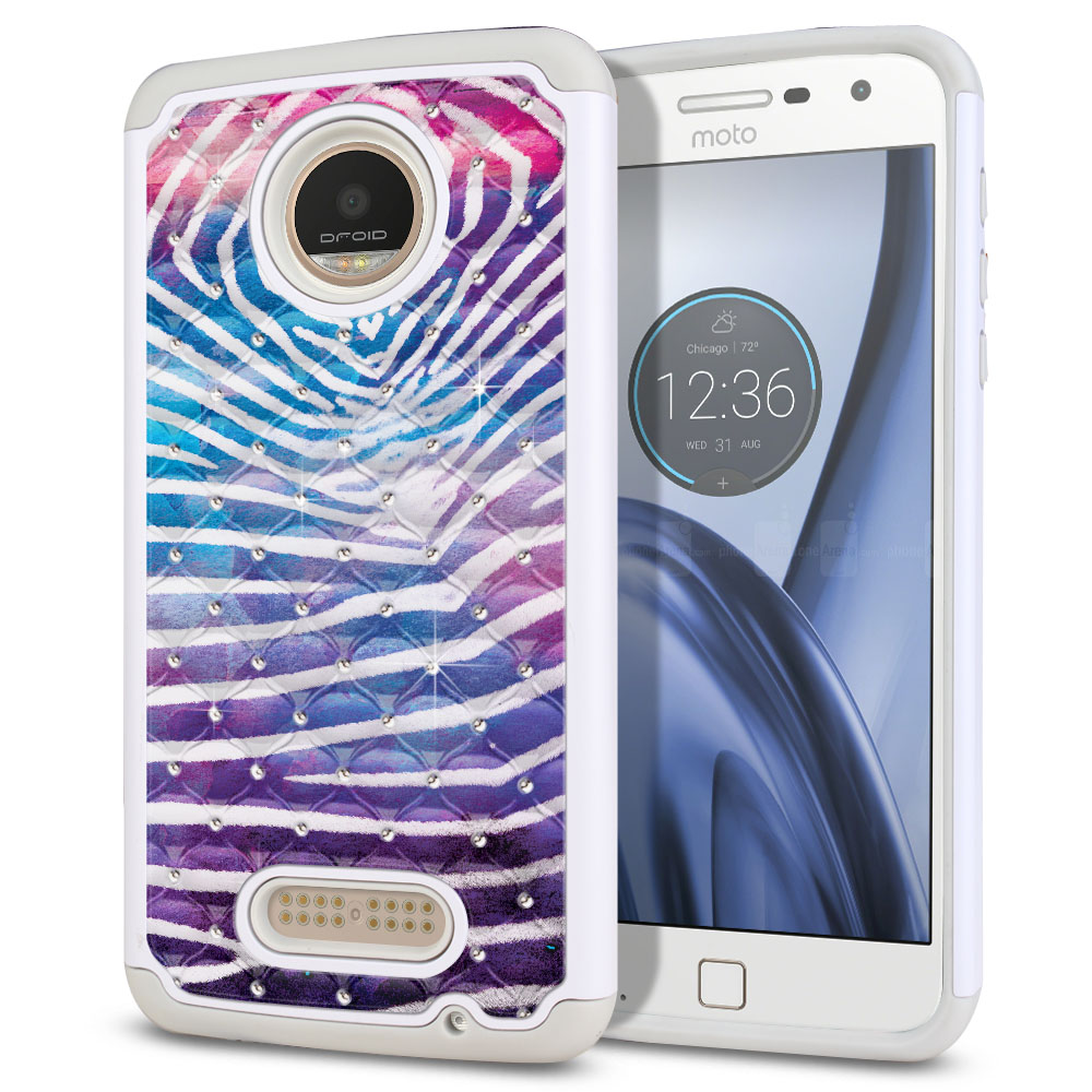 Motorola Moto Z Play Droid XT1635 Hybrid Total Defense Some Rhinestones Zebra Stripes White Protector Cover Case