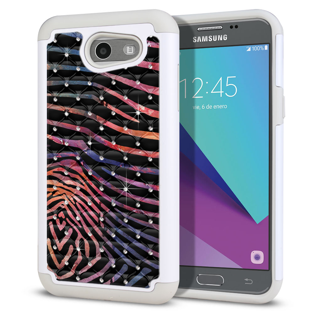 Samsung Galaxy J3 Emerge J327 2017 2nd Gen Hybrid Total Defense Some Rhinestones Zebra Stripes Dusk Protector Cover Case