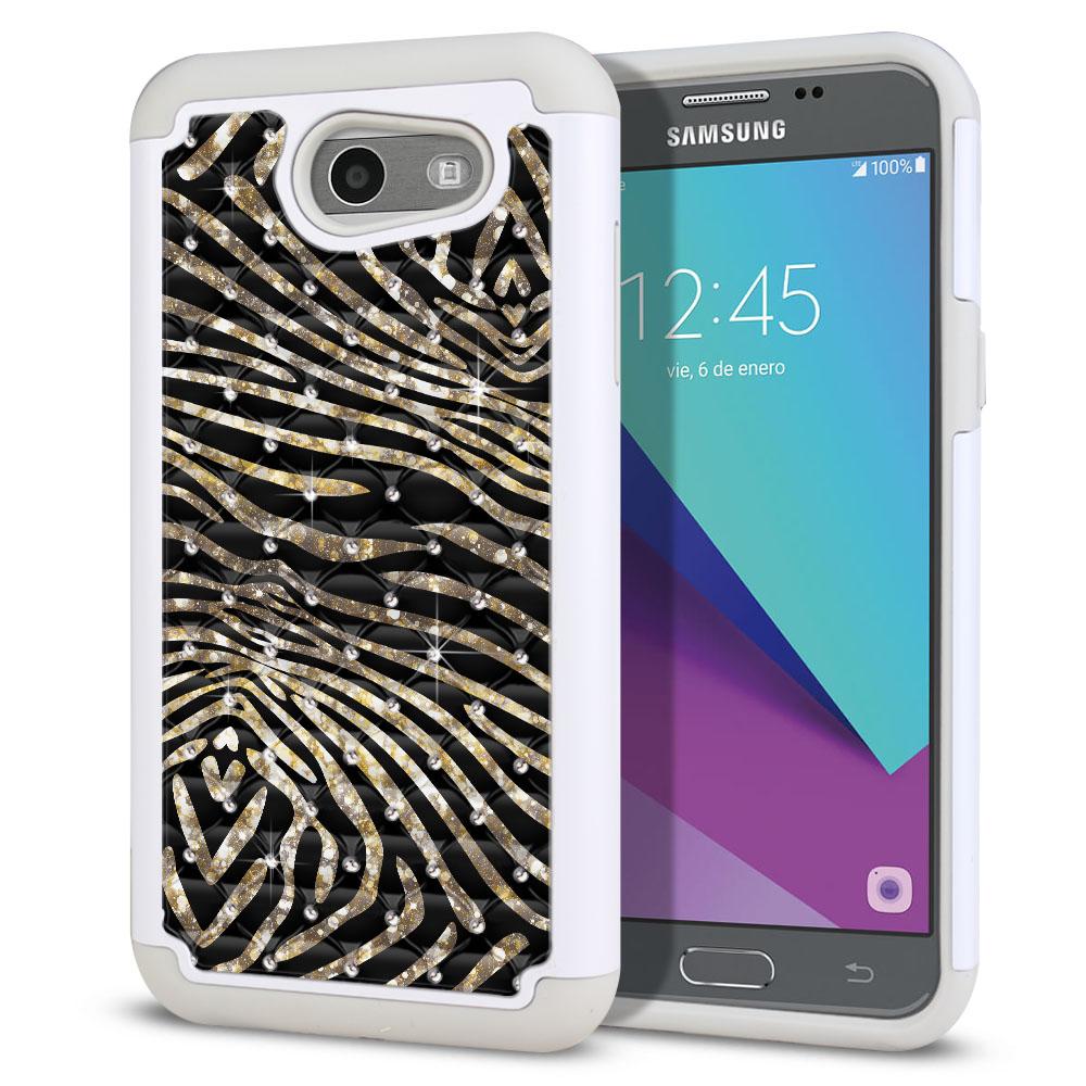 Samsung Galaxy J3 Emerge J327 2017 2nd Gen Hybrid Total Defense Some Rhinestones Zebra Stripes Gold Protector Cover Case
