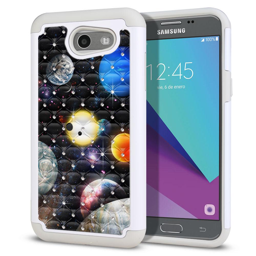 Samsung Galaxy J3 Emerge J327 2017 2nd Gen Hybrid Total Defense Some Rhinestones Planet Solar System 2 Protector Cover Case