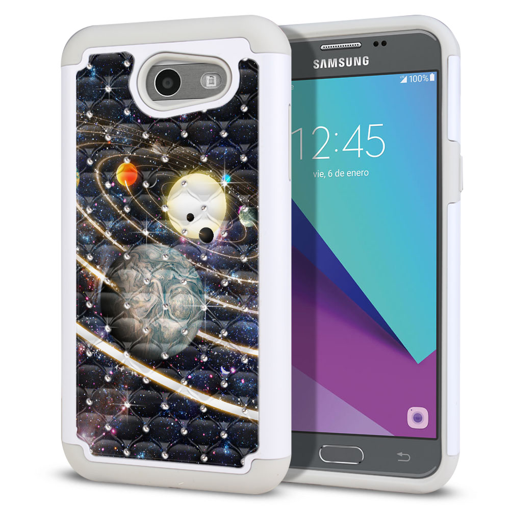 Samsung Galaxy J3 Emerge J327 2017 2nd Gen Hybrid Total Defense Some Rhinestones Rings of Solar System Protector Cover Case