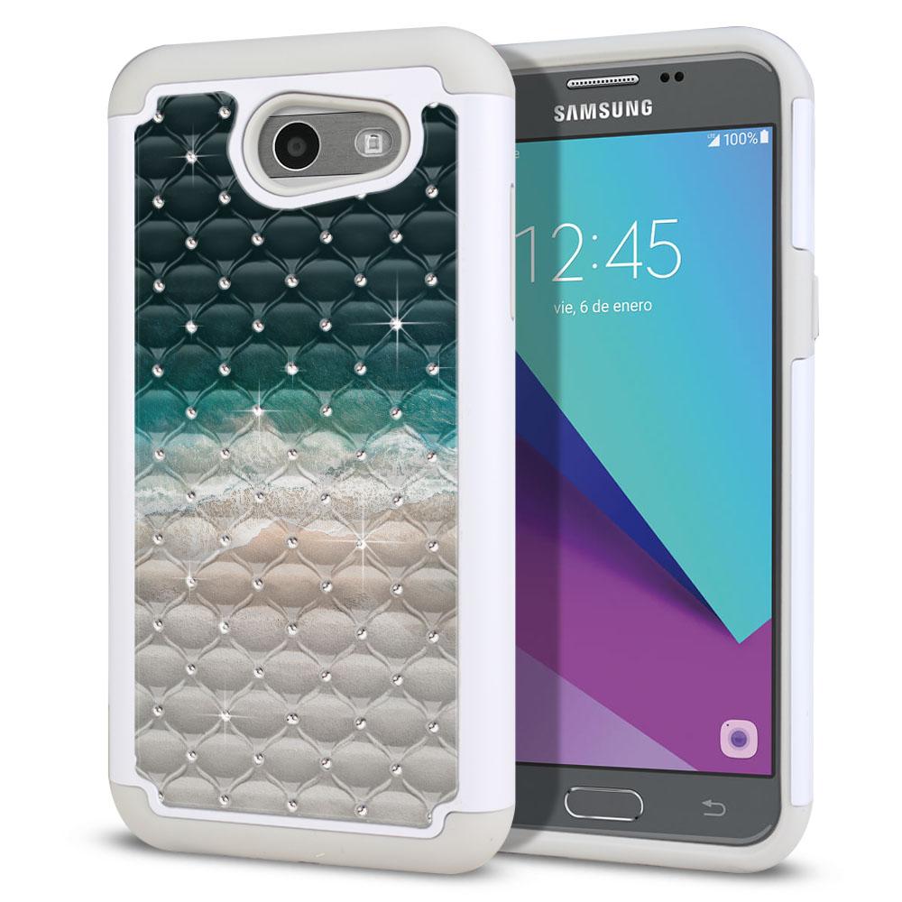 Samsung Galaxy J3 Emerge J327 2017 2nd Gen Hybrid Total Defense Some Rhinestones Sandy Beach Protector Cover Case