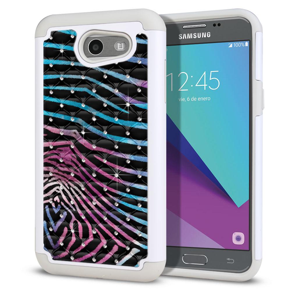 Samsung Galaxy J3 Emerge J327 2017 2nd Gen Hybrid Total Defense Some Rhinestones Zebra Stripes Black Protector Cover Case