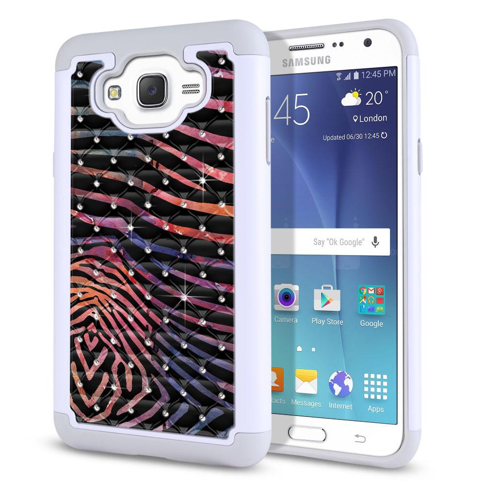 Samsung Galaxy J7 J700 Hybrid Total Defense Some Rhinestones Zebra Stripes Dusk Protector Cover Case