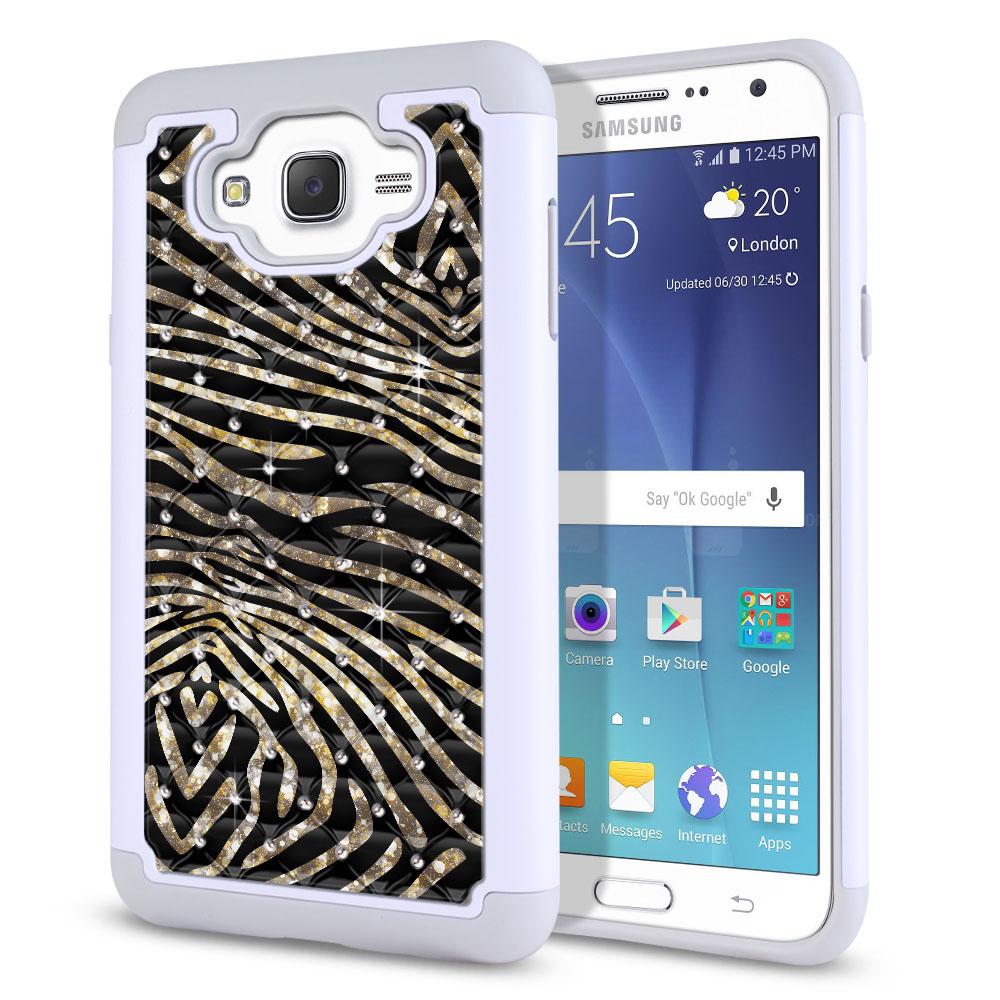Samsung Galaxy J7 J700 Hybrid Total Defense Some Rhinestones Zebra Stripes Gold Protector Cover Case