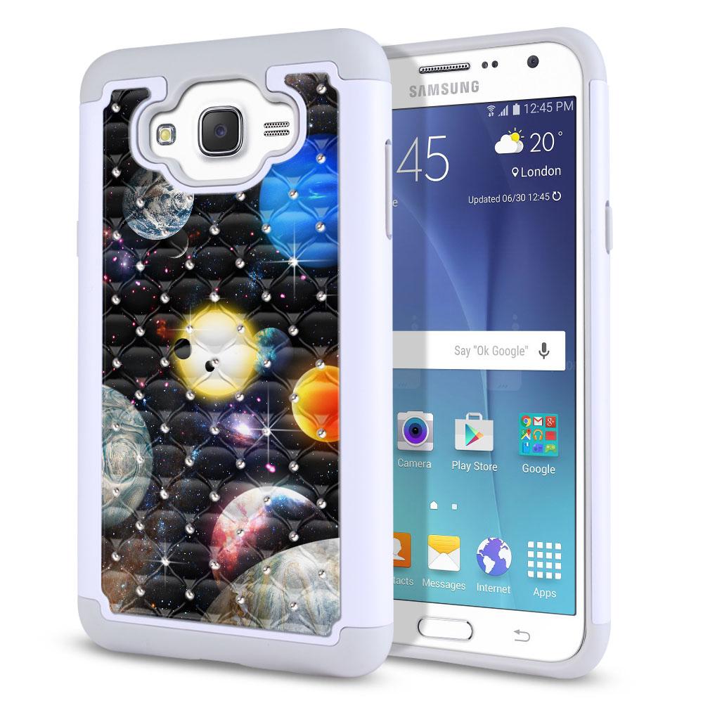 Samsung Galaxy J7 J700 Hybrid Total Defense Some Rhinestones Planet Solar System 2 Protector Cover Case