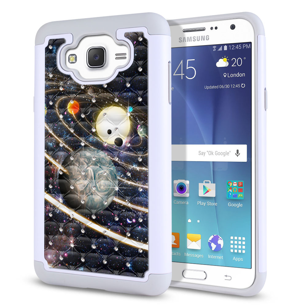 Samsung Galaxy J7 J700 Hybrid Total Defense Some Rhinestones Rings of Solar System Protector Cover Case