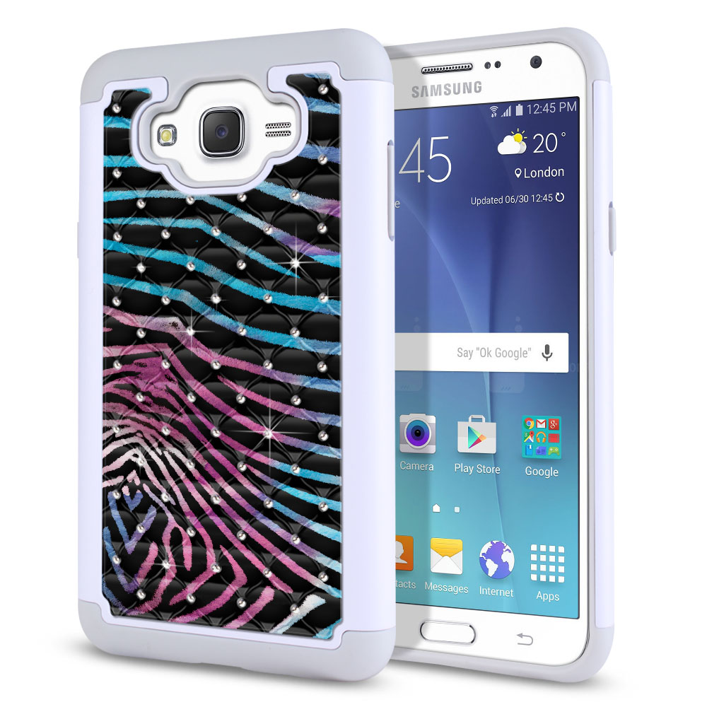 Samsung Galaxy J7 J700 Hybrid Total Defense Some Rhinestones Zebra Stripes Black Protector Cover Case