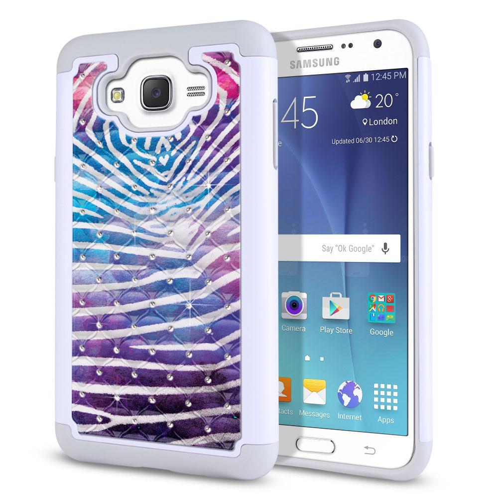 Samsung Galaxy J7 J700 Hybrid Total Defense Some Rhinestones Zebra Stripes White Protector Cover Case