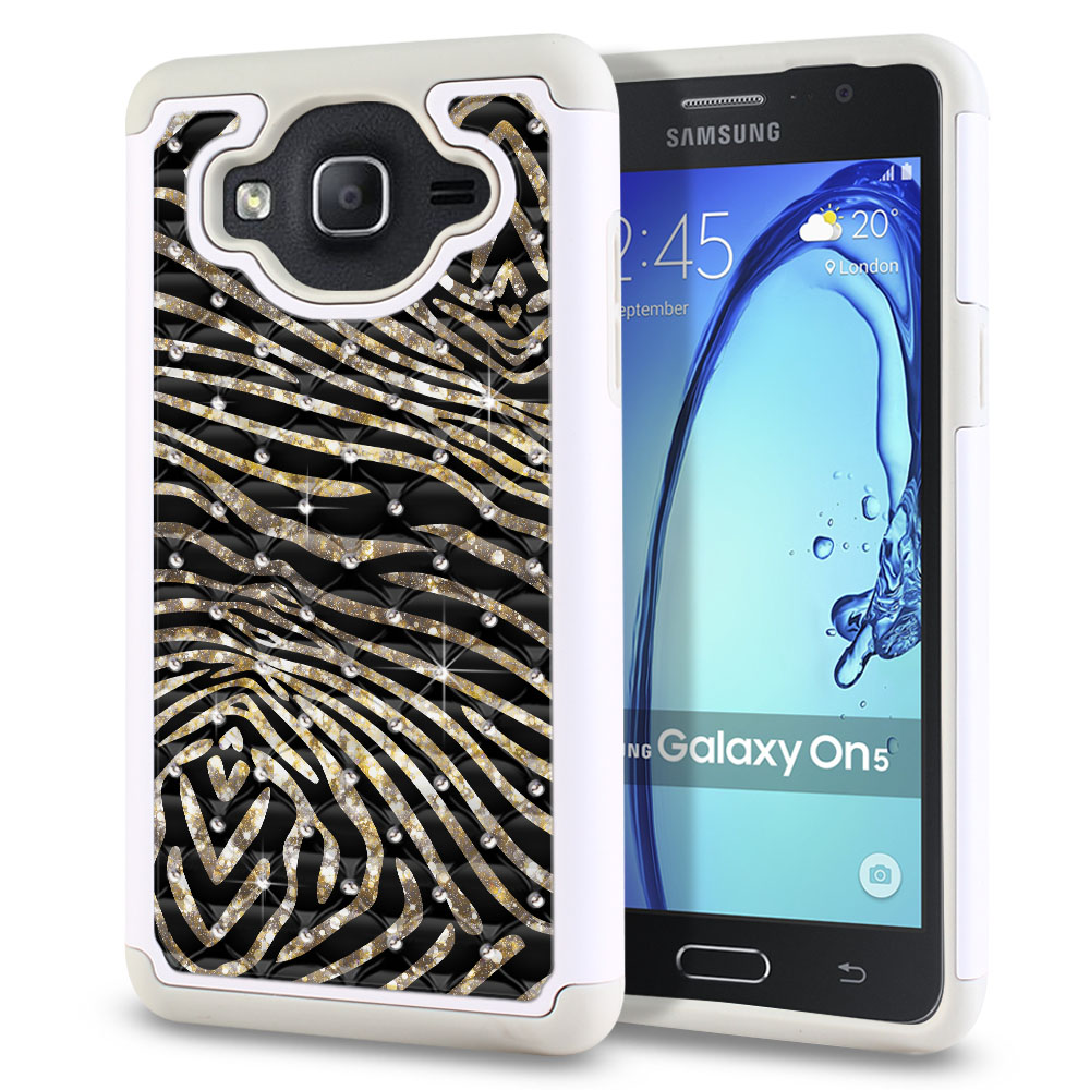Samsung Galaxy On5 G550 G500 Hybrid Total Defense Some Rhinestones Zebra Stripes Gold Protector Cover Case