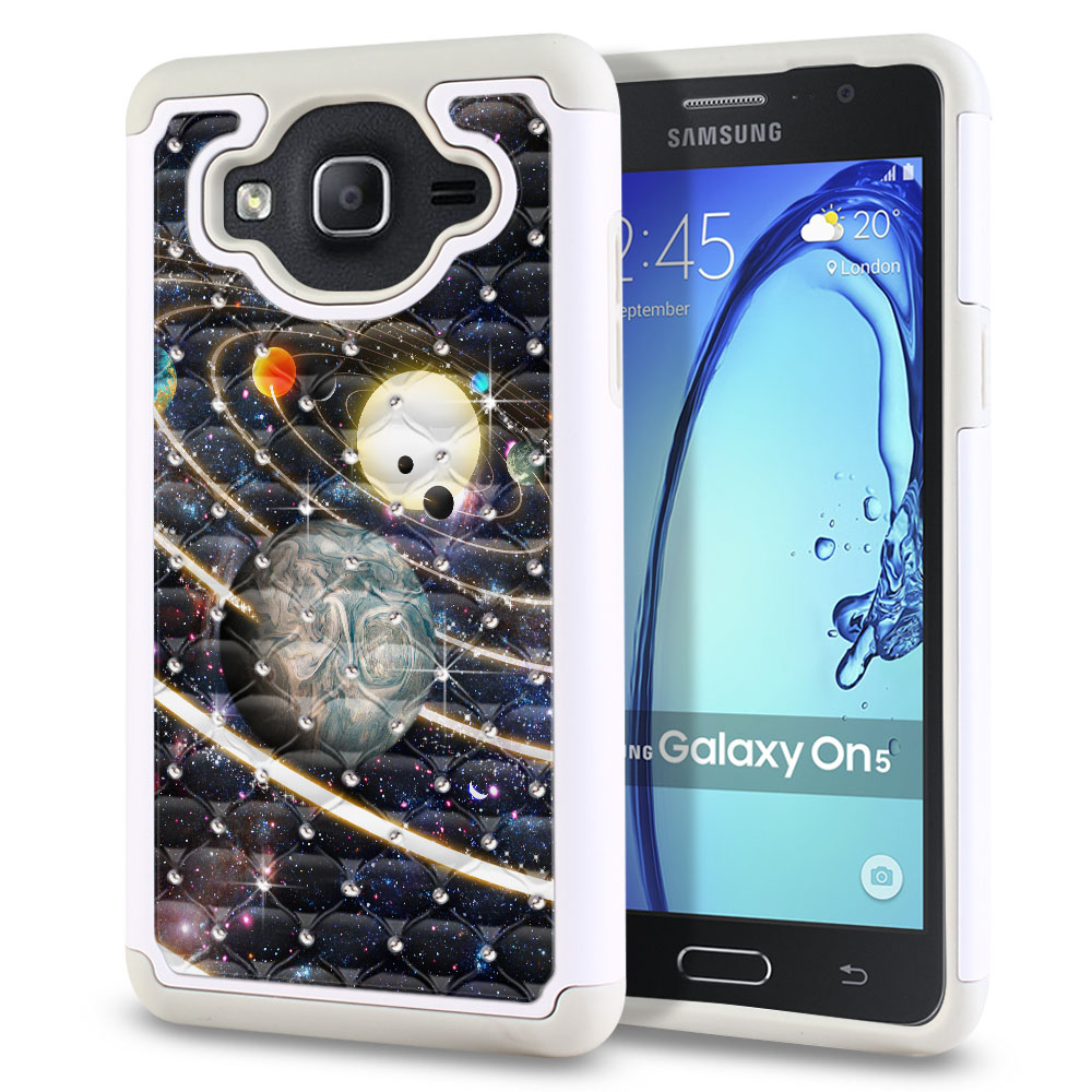 Samsung Galaxy On5 G550 G500 Hybrid Total Defense Some Rhinestones Rings of Solar System Protector Cover Case