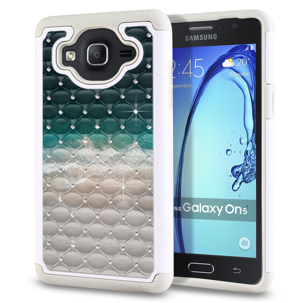 Samsung Galaxy On5 G550 G500 Hybrid Total Defense Some Rhinestones Sandy Beach Protector Cover Case