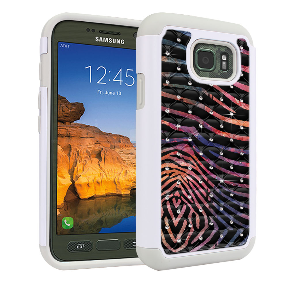 Samsung Galaxy S7 Active G891 Hybrid Total Defense Some Rhinestones Zebra Stripes Dusk Protector Cover Case