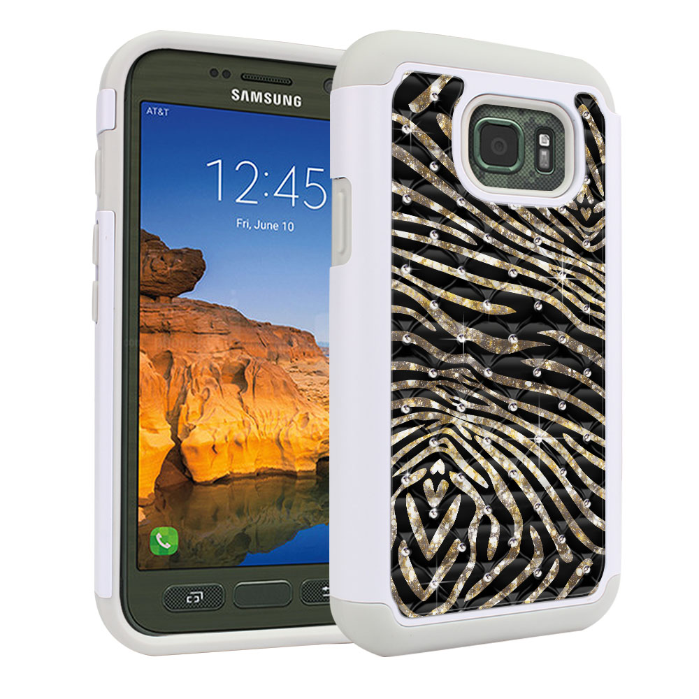 Samsung Galaxy S7 Active G891 Hybrid Total Defense Some Rhinestones Zebra Stripes Gold Protector Cover Case