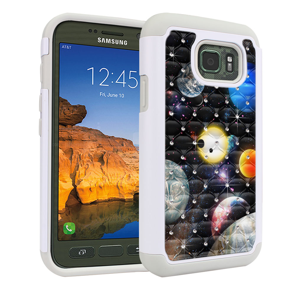 Samsung Galaxy S7 Active G891 Hybrid Total Defense Some Rhinestones Planet Solar System 2 Protector Cover Case