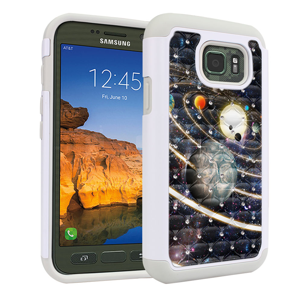 Samsung Galaxy S7 Active G891 Hybrid Total Defense Some Rhinestones Rings of Solar System Protector Cover Case