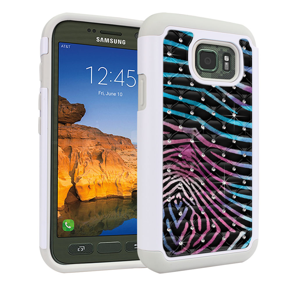 Samsung Galaxy S7 Active G891 Hybrid Total Defense Some Rhinestones Zebra Stripes Black Protector Cover Case