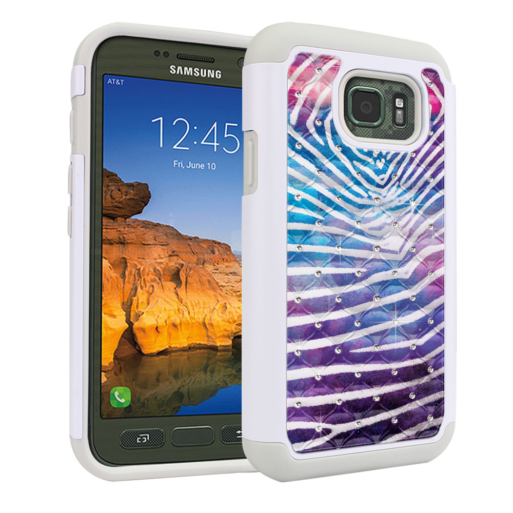 Samsung Galaxy S7 Active G891 Hybrid Total Defense Some Rhinestones Zebra Stripes White Protector Cover Case