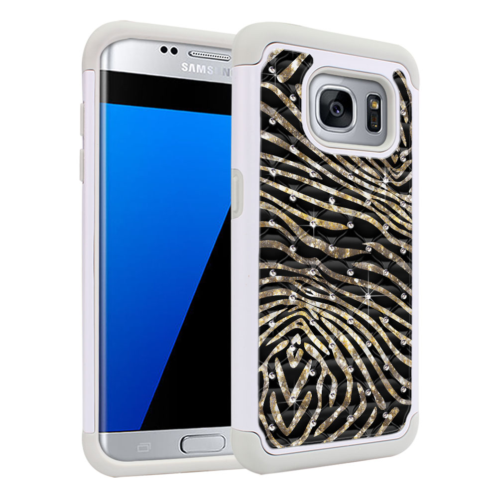 Samsung Galaxy S7 Edge G935 Hybrid Total Defense Some Rhinestones Zebra Stripes Gold Protector Cover Case