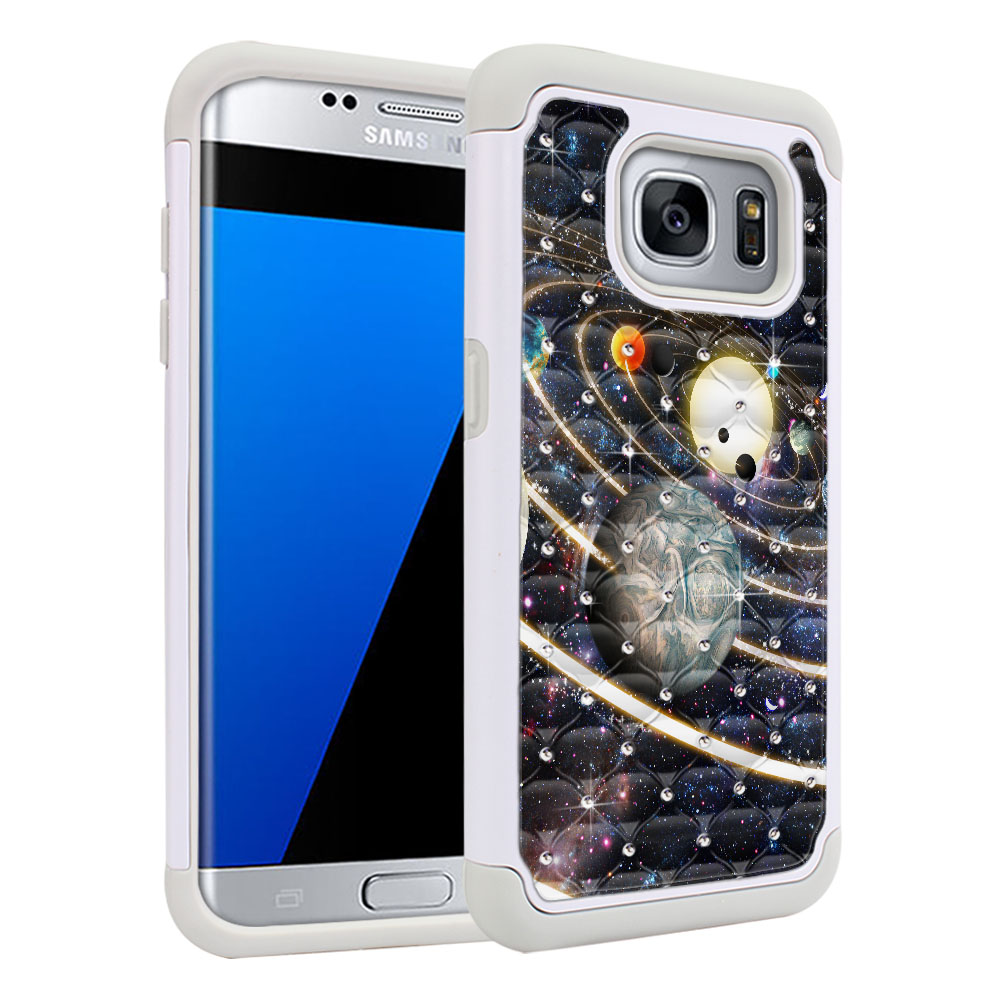 Samsung Galaxy S7 Edge G935 Hybrid Total Defense Some Rhinestones Rings of Solar System Protector Cover Case